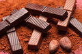 Chocolate with cocoa beans Royalty Free Stock Photo