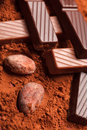 Chocolate with cocoa beans Stock Photos