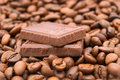 Chocolate with coffee beans Royalty Free Stock Photos