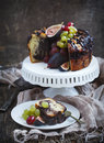 Chocolate coffee cake decorated fresh fruits Royalty Free Stock Photo