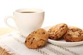 Chocolate cookies and a cup of coffee close up round biscuits Stock Photography