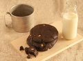 Chocolate cookies and milk a great combination of with ice cold fresh Royalty Free Stock Photos