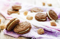 Chocolate cookies sable with cream cheese on a light background tinting selective focus Stock Photography