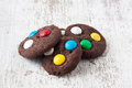 Chocolate cookies with sugar coated candy Royalty Free Stock Photo