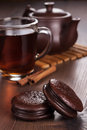 Chocolate cookies on table teatime concept the Royalty Free Stock Photos