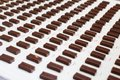 Chocolate covered candy at a candy factory. Royalty Free Stock Photo