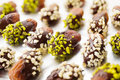 Chocolate covered dates Stock Photography