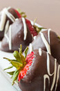 Chocolate covered strawberries closeup Royalty Free Stock Images