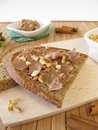 Chocolate cream with cinnamon and almonds bread Stock Photos
