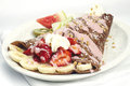 Chocolate crepe with banana strawberry and yogurt Stock Photography