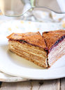 Chocolate crepe cake Stock Image