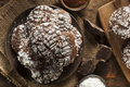 Chocolate crinkle cookies with powdered sugar homemade Stock Photo
