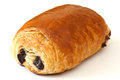 Chocolate croissant on white surface selective focus Royalty Free Stock Photos