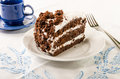 Chocolate crumb cake with white icing layer Royalty Free Stock Photos
