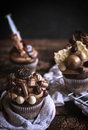 Chocolate and crunchy cupcake on wooden background selective focuss Royalty Free Stock Images