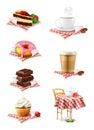 Chocolate, cupcake, cake, cup of coffee and donut,