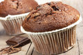 Chocolate cupcake dark close up Royalty Free Stock Photography