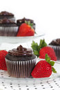 image photo : Chocolate Cupcake with Fresh Strawberry