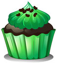 A chocolate cupcake with green toppings illustration of on white background Royalty Free Stock Photography
