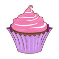 Chocolate cupcake pink icing with and purple wrapper illustration graphic Stock Photo