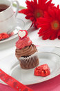 Chocolate Cupcake for Valentine Day Royalty Free Stock Photo