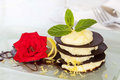 Chocolate dessert with lemon and rose Royalty Free Stock Photo