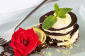 Chocolate dessert with lemon and rose Stock Images