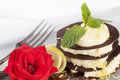 Chocolate dessert with lemon and rose Royalty Free Stock Photography
