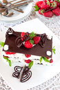 Chocolate dessert with strawberries millefeuille fresh and cream Royalty Free Stock Photo