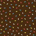 Chocolate donut glaze with sprinkles. Colorful seamless pattern.