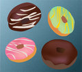 Chocolate donuts vector doughnuts with claze Stock Photos