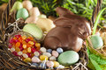 Chocolate Easter Bunny in a Basket Stock Photo
