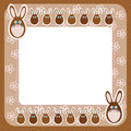 Chocolate easter bunny on frame with flowers cartoon rabbits framing place for text above and below free place brown contour and Stock Photography