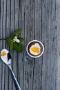 Chocolate Easter egg next to spoon with yolk Royalty Free Stock Photo