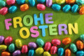 Chocolate easter eggs many colored with happy lettering Royalty Free Stock Photo