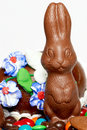 Chocolate easter rabbit with sweets Royalty Free Stock Photo