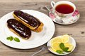 Chocolate eclairs delicious homemade with a ganache Royalty Free Stock Images