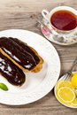 Chocolate eclairs delicious homemade with a ganache Royalty Free Stock Photography