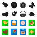 Chocolate egg, bells, basket and flowers.Easter set collection icons in black,flet style vector symbol stock Royalty Free Stock Photo