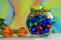 Chocolate eggs in a glass jar Royalty Free Stock Image