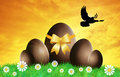 Chocolate eggs grass easter Royalty Free Stock Images