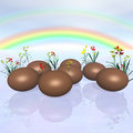 Chocolate Eggs and Rainbow Stock Photo