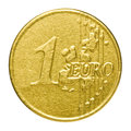 Chocolate euro in a wrapper on white background Stock Photos