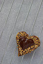 Chocolate fingerprint cookie in shape of heart for Valentine's d Royalty Free Stock Photography