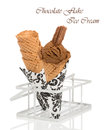 Chocolate flake ice cream with wafer cones on a white background Stock Photo