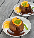 Chocolate fondant on a gray background Royalty Free Stock Images