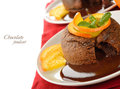 Chocolate fondant on a white background Royalty Free Stock Image