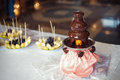 Chocolate fondue fountain with prepared fruits Royalty Free Stock Photo