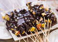 Chocolate fondue with various fruits delicious dessert Royalty Free Stock Photo