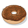Chocolate frosted donut with sprinkles vector illustration of a Royalty Free Stock Photo